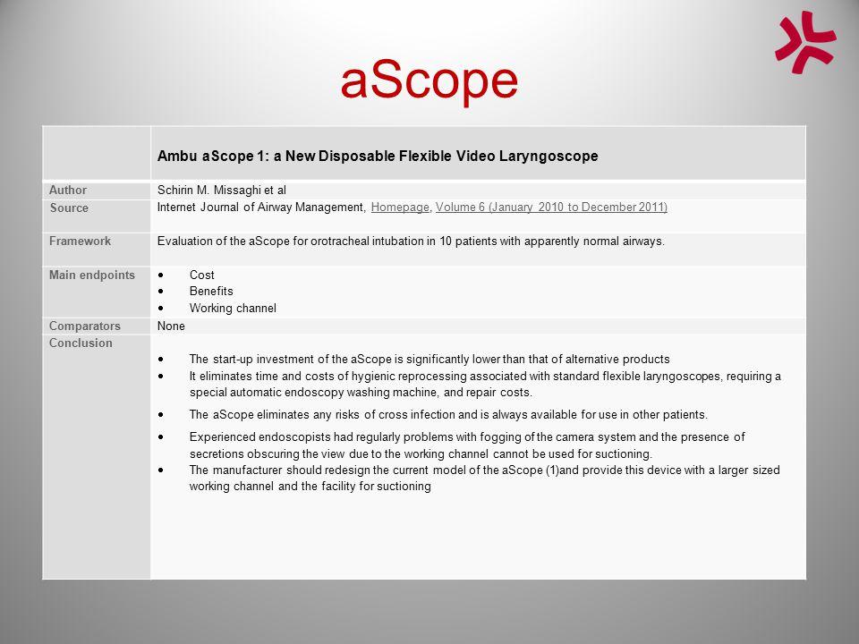 aScope Ambu aScope 1: a New Disposable Flexible Video Laryngoscope AuthorSchirin M. Missaghi et al Source Internet Journal of Airway Management, Homep