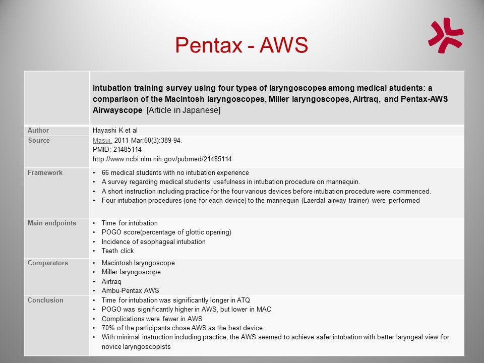 Pentax - AWS Intubation training survey using four types of laryngoscopes among medical students: a comparison of the Macintosh laryngoscopes, Miller