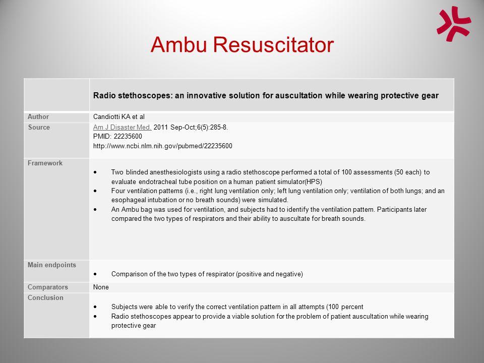Ambu Resuscitator Radio stethoscopes: an innovative solution for auscultation while wearing protective gear AuthorCandiotti KA et al Source Am J Disas