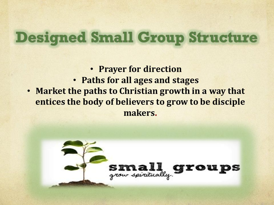 Prayer for direction Paths for all ages and stages Market the paths to Christian growth in a way that entices the body of believers to grow to be disc