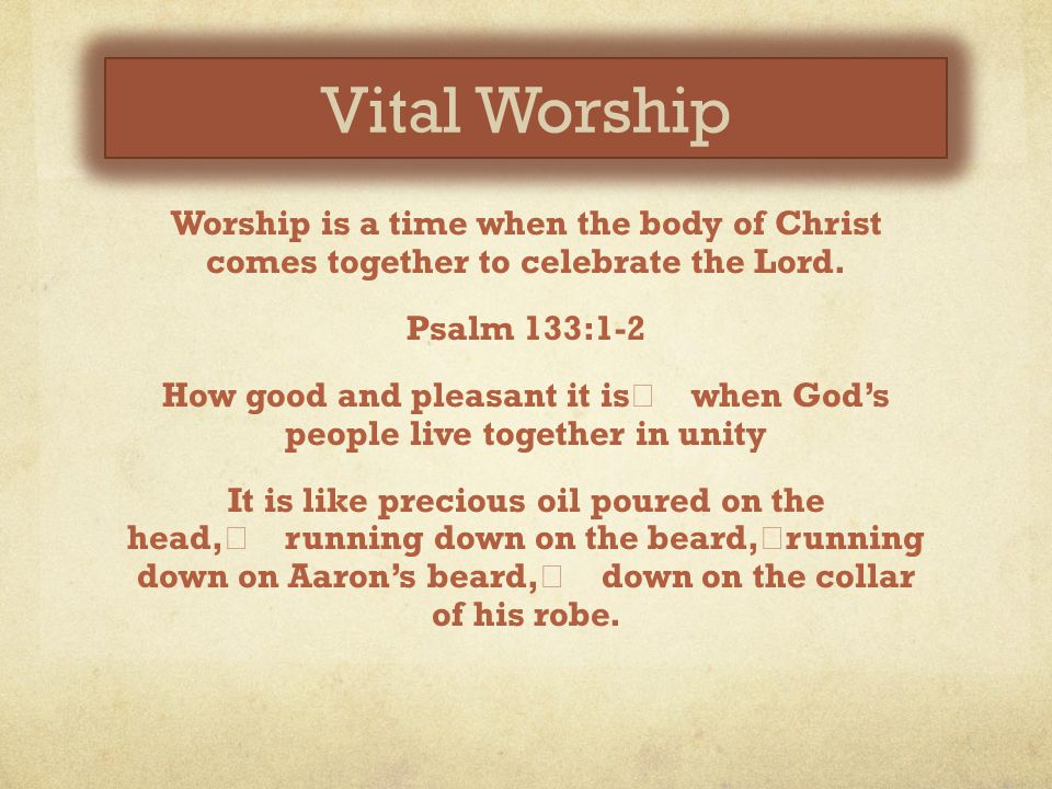 Vital Worship Worship is a time when the body of Christ comes together to celebrate the Lord.