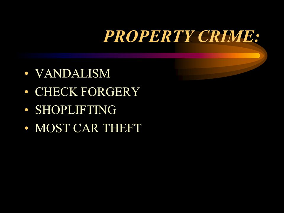 PROPERTY CRIME: VANDALISM CHECK FORGERY SHOPLIFTING MOST CAR THEFT