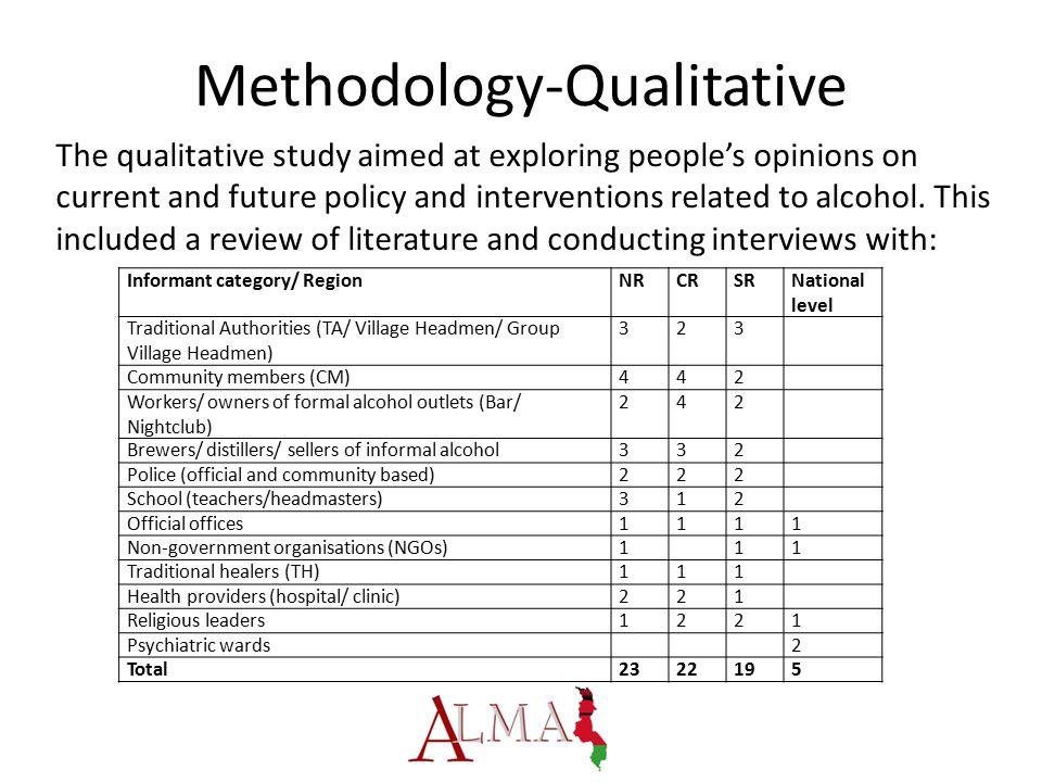 Methodology-Qualitative Informant category/ RegionNRCRSRNational level Traditional Authorities (TA/ Village Headmen/ Group Village Headmen) 323 Commun