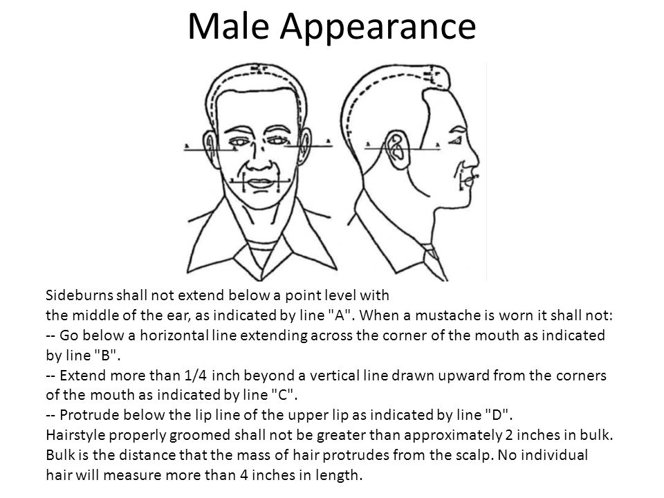 Male Appearance Sideburns shall not extend below a point level with the middle of the ear, as indicated by line