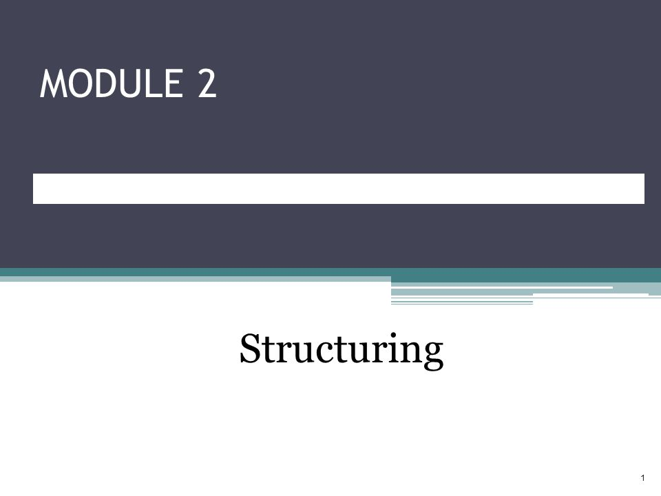 MODULE 2 Structuring 1