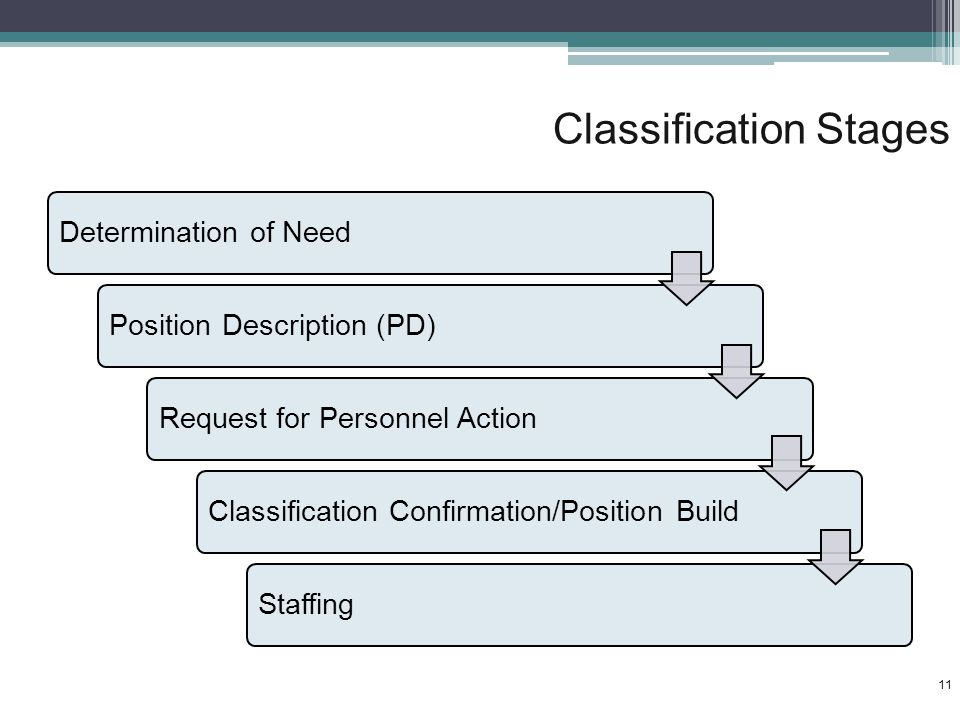Classification Stages Determination of NeedPosition Description (PD)Request for Personnel ActionClassification Confirmation/Position BuildStaffing 11