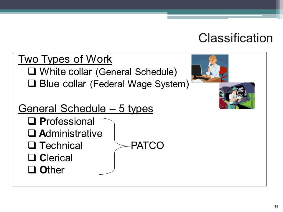 Classification Two Types of Work  White collar (General Schedule )  Blue collar (Federal Wage System ) General Schedule – 5 types  Professional  Administrative  Technical PATCO  Clerical  Other 14