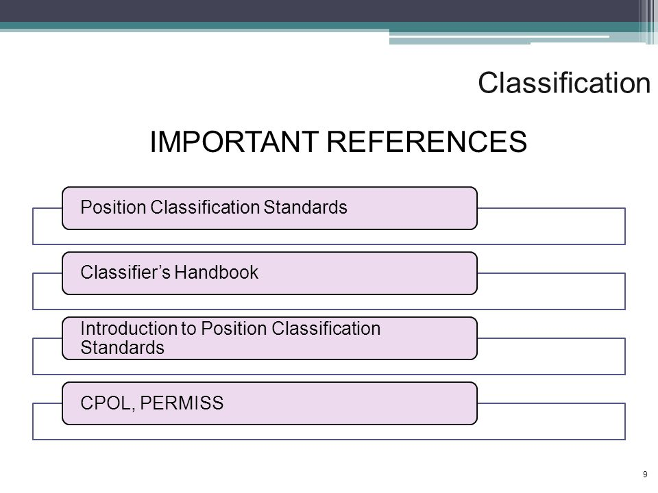 Classification Position Classification StandardsClassifier's Handbook Introduction to Position Classification Standards CPOL, PERMISS IMPORTANT REFERENCES 9