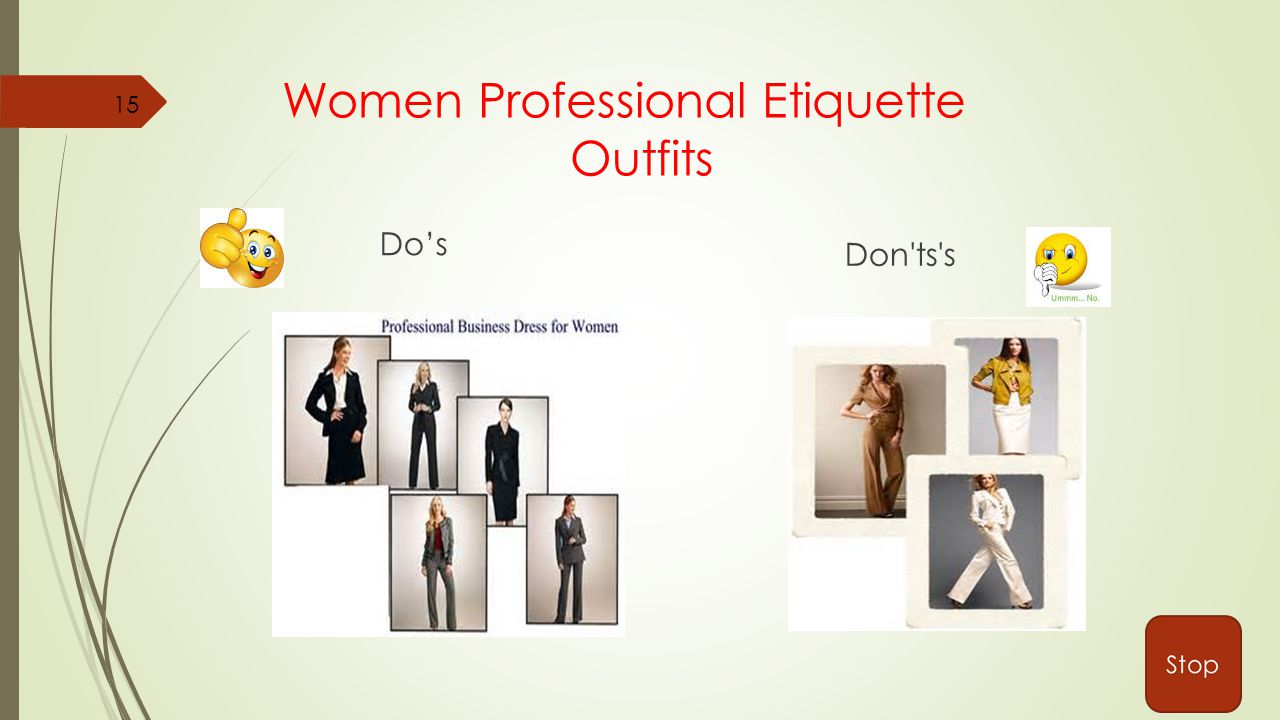 Women Professional Etiquette Outfits Do's Don ts s 15