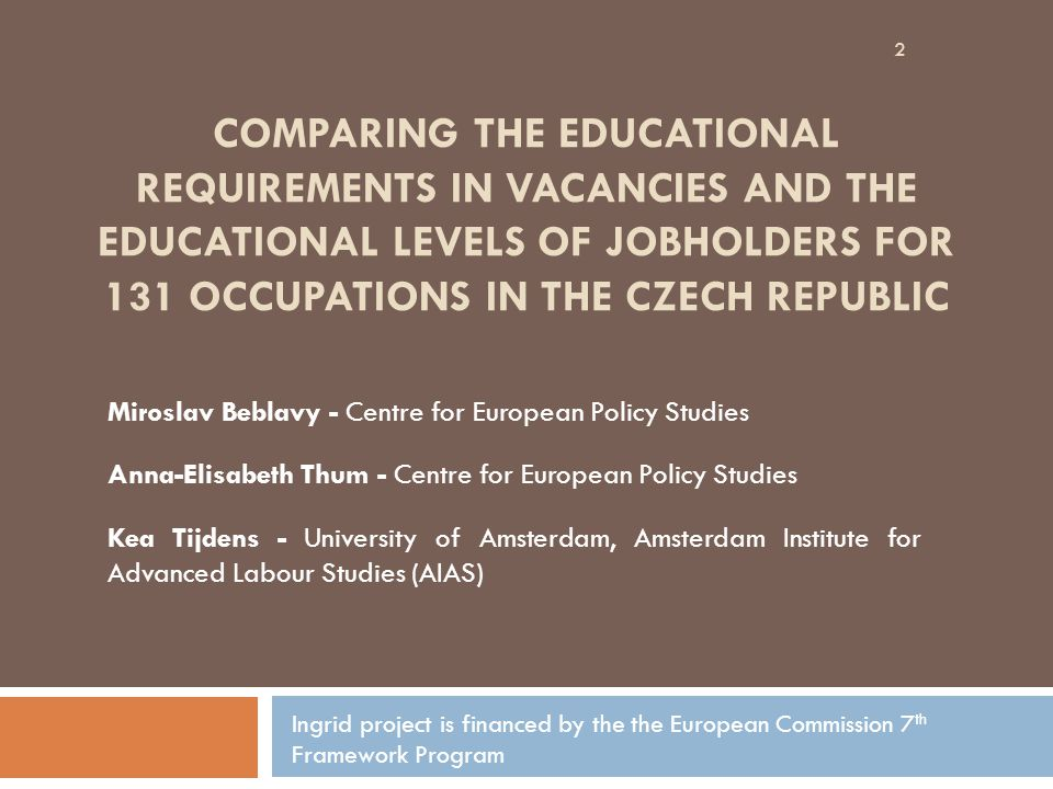COMPARING THE EDUCATIONAL REQUIREMENTS IN VACANCIES AND THE EDUCATIONAL LEVELS OF JOBHOLDERS FOR 131 OCCUPATIONS IN THE CZECH REPUBLIC Miroslav Beblav