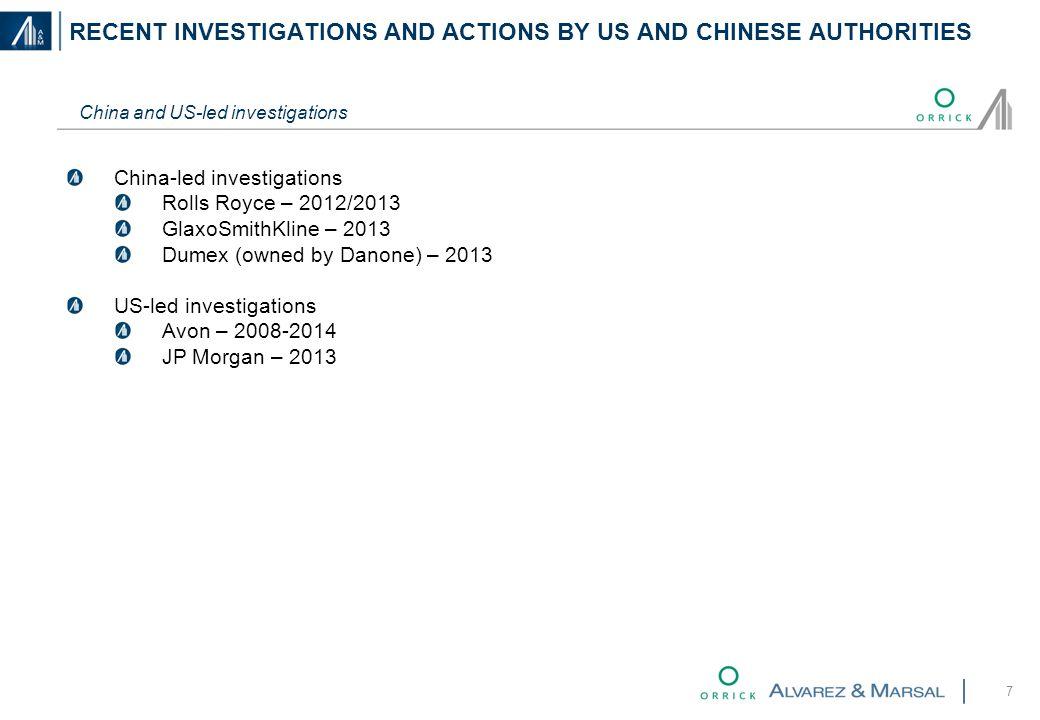 7 China and US-led investigations China-led investigations Rolls Royce – 2012/2013 GlaxoSmithKline – 2013 Dumex (owned by Danone) – 2013 US-led investigations Avon – 2008-2014 JP Morgan – 2013