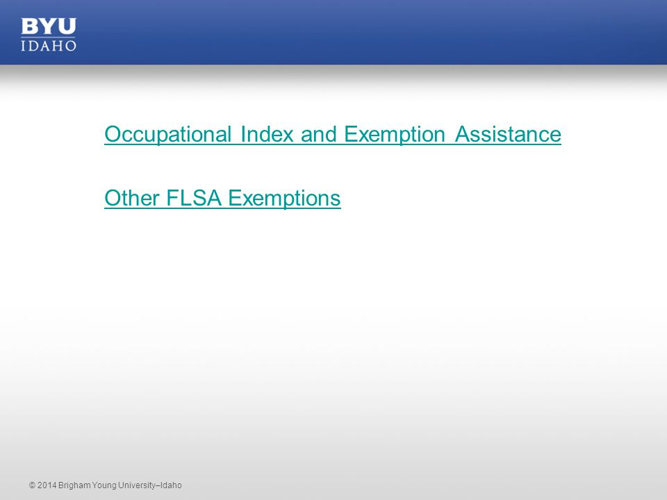 © 2014 Brigham Young University–Idaho Occupational Index and Exemption Assistance Other FLSA Exemptions