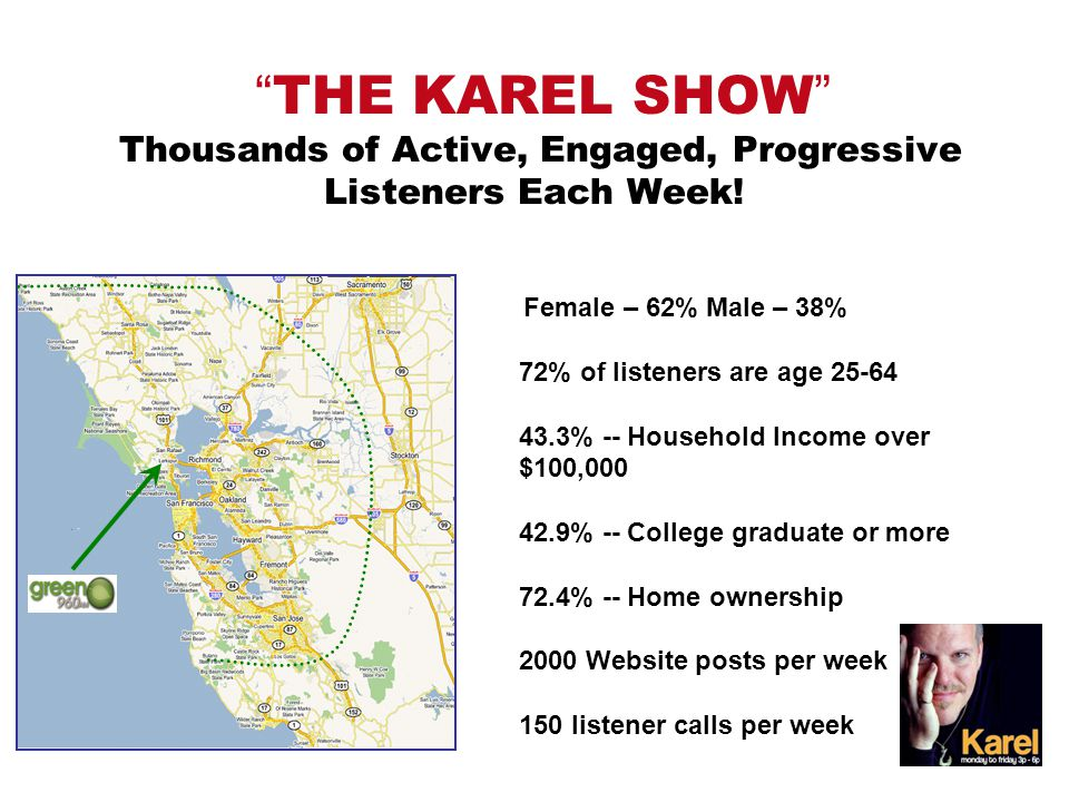 THE KAREL SHOW Thousands of Active, Engaged, Progressive Listeners Each Week.