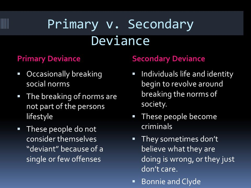 Primary v. Secondary Deviance Primary DevianceSecondary Deviance  Occasionally breaking social norms  The breaking of norms are not part of the pers