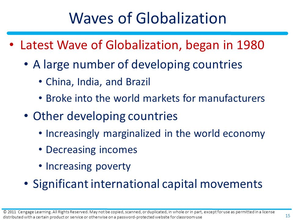Waves of Globalization Latest Wave of Globalization, began in 1980 A large number of developing countries China, India, and Brazil Broke into the world markets for manufacturers Other developing countries Increasingly marginalized in the world economy Decreasing incomes Increasing poverty Significant international capital movements © 2011 Cengage Learning.