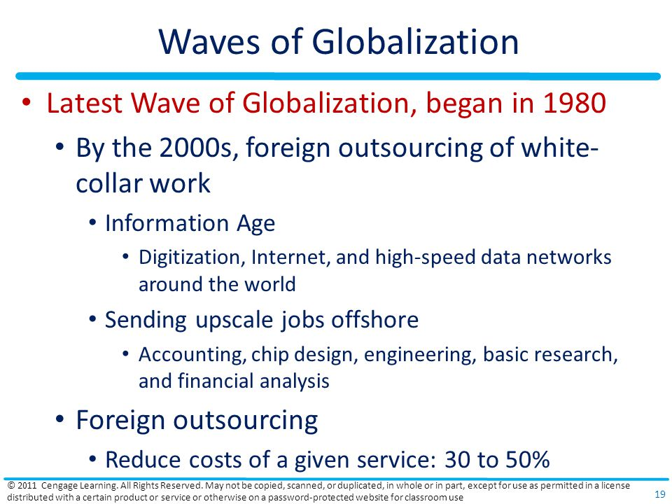 Waves of Globalization Latest Wave of Globalization, began in 1980 By the 2000s, foreign outsourcing of white- collar work Information Age Digitization, Internet, and high-speed data networks around the world Sending upscale jobs offshore Accounting, chip design, engineering, basic research, and financial analysis Foreign outsourcing Reduce costs of a given service: 30 to 50% © 2011 Cengage Learning.