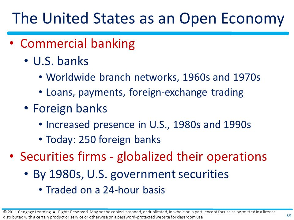 The United States as an Open Economy Commercial banking U.S.