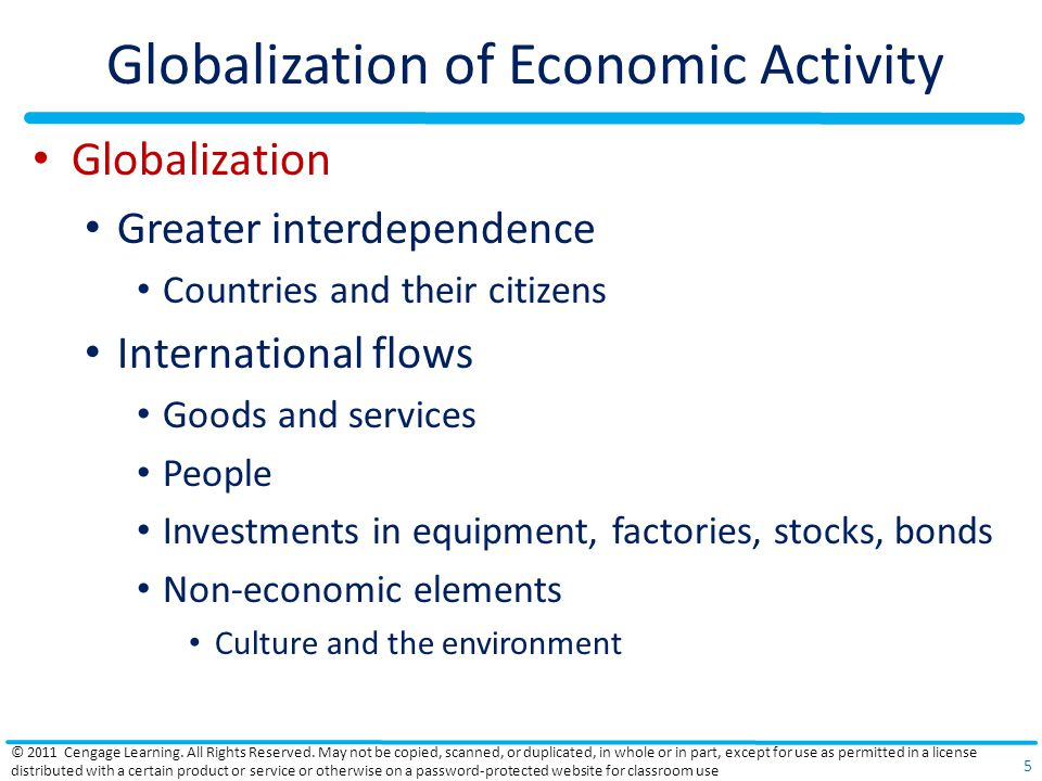 Globalization of Economic Activity Globalization Greater interdependence Countries and their citizens International flows Goods and services People Investments in equipment, factories, stocks, bonds Non-economic elements Culture and the environment © 2011 Cengage Learning.