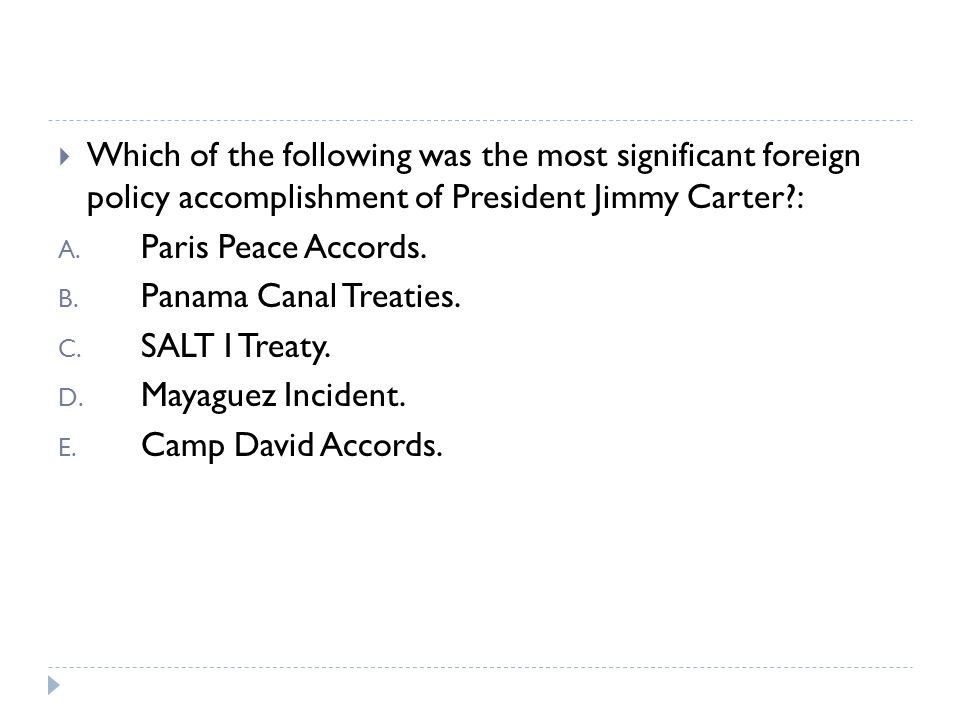  Which of the following was NOT a major issue during the presidency of Jimmy Carter: A.