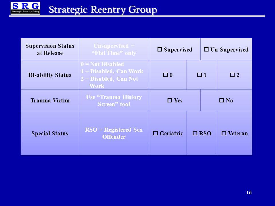 16 Strategic Reentry Group