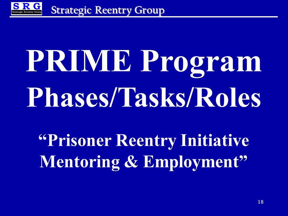 18 Strategic Reentry Group PRIME Program Phases/Tasks/Roles Prisoner Reentry Initiative Mentoring & Employment