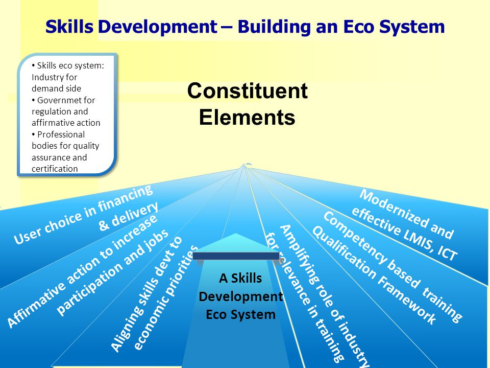Amplifying role of industry for relevance in training Competency based training Qualification Framework Affirmative action to increase participation and jobs User choice in financing & delivery Modernized and effective LMIS, ICT Aligning skills devt to economic priorities Skills eco system: Industry for demand side Governmet for regulation and affirmative action Professional bodies for quality assurance and certification Skills Development – Building an Eco System Constituent Elements A Skills Development Eco System