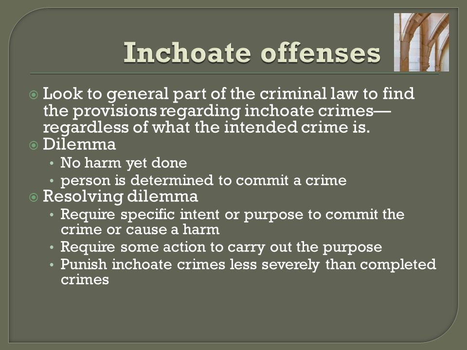  Legal impossibility (a valid defense) Actors intend to commit crimes, and do everything they can to carry out their criminal intent, but the crime law doesn't ban what they did Requires different law to complete the crime  Factual impossibility (not a valid defense) Actors intend to commit a crime and try to commit the crime but some extraneous factor interrupts them to prevent the completion of the crime Requires different facts to complete the crime