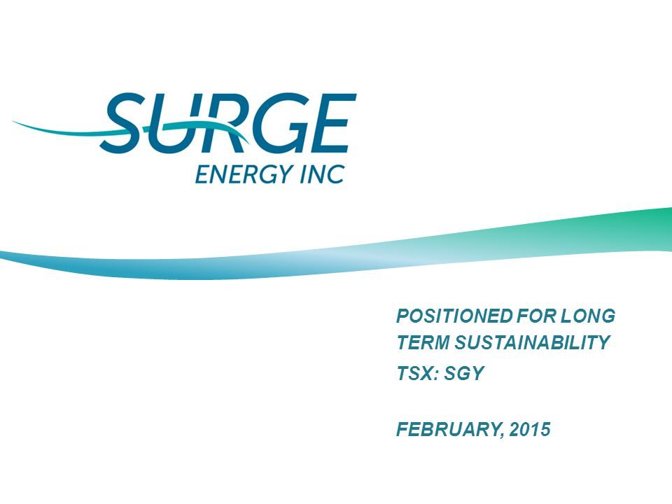 POSITIONED FOR LONG TERM SUSTAINABILITY TSX: SGY FEBRUARY, 2015