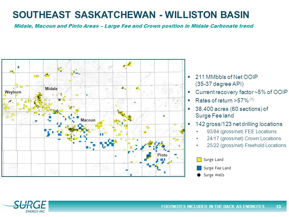 FOOTNOTES INCLUDED IN THE BACK AS ENDNOTES SOUTHEAST SASKATCHEWAN - WILLISTON BASIN Midale, Macoun and Pinto Areas – Large Fee and Crown position in M