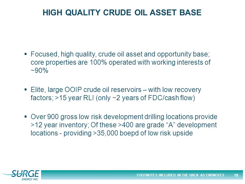 FOOTNOTES INCLUDED IN THE BACK AS ENDNOTES  Focused, high quality, crude oil asset and opportunity base; core properties are 100% operated with working interests of ~90%  Elite, large OOIP crude oil reservoirs – with low recovery factors; >15 year RLI (only ~2 years of FDC/cash flow)  Over 900 gross low risk development drilling locations provide >12 year inventory; Of these >400 are grade A development locations - providing >35,000 boepd of low risk upside HIGH QUALITY CRUDE OIL ASSET BASE 19