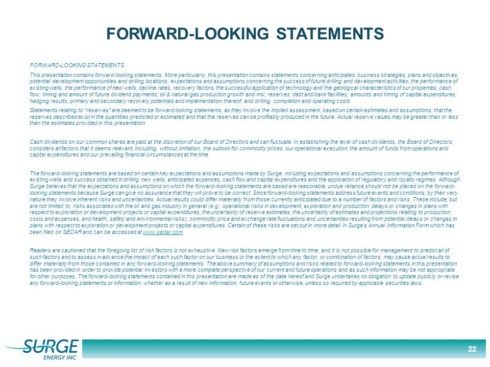 FORWARD-LOOKING STATEMENTS This presentation contains forward-looking statements.