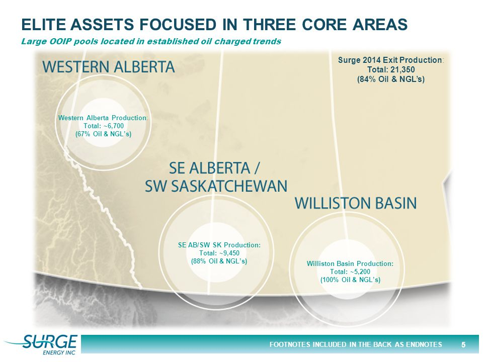FOOTNOTES INCLUDED IN THE BACK AS ENDNOTES ELITE ASSETS FOCUSED IN THREE CORE AREAS Western Alberta Production: Total: ~6,700 (67% Oil & NGL's) SE AB/