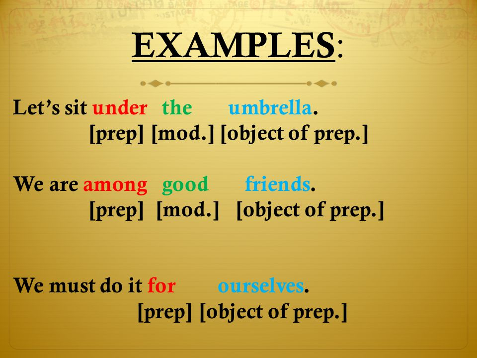 The preposition never stands alone ! preposition noun pronoun object of preposition object It happened ( during [the last] examination ). MODIFIERS