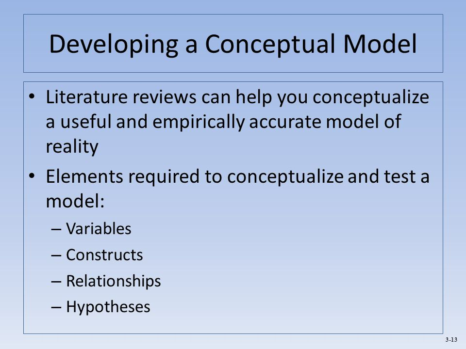 3-13 Developing a Conceptual Model Literature reviews can help you conceptualize a useful and empirically accurate model of reality Elements required