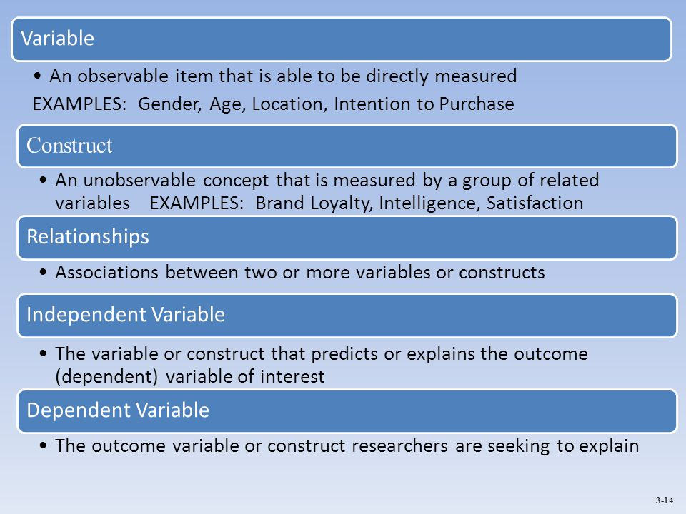 3-14 Variable An observable item that is able to be directly measured EXAMPLES: Gender, Age, Location, Intention to Purchase Construct An unobservable