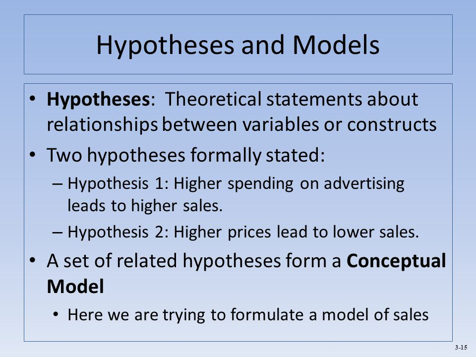 3-15 Hypotheses and Models Hypotheses: Theoretical statements about relationships between variables or constructs Two hypotheses formally stated: – Hy