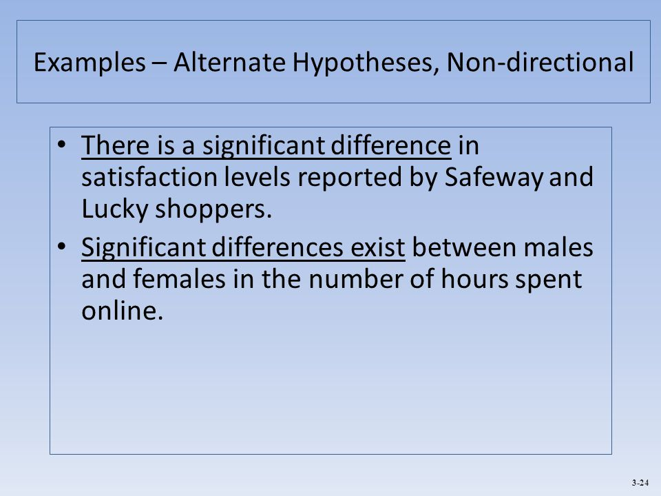 3-24 Examples – Alternate Hypotheses, Non-directional There is a significant difference in satisfaction levels reported by Safeway and Lucky shoppers.