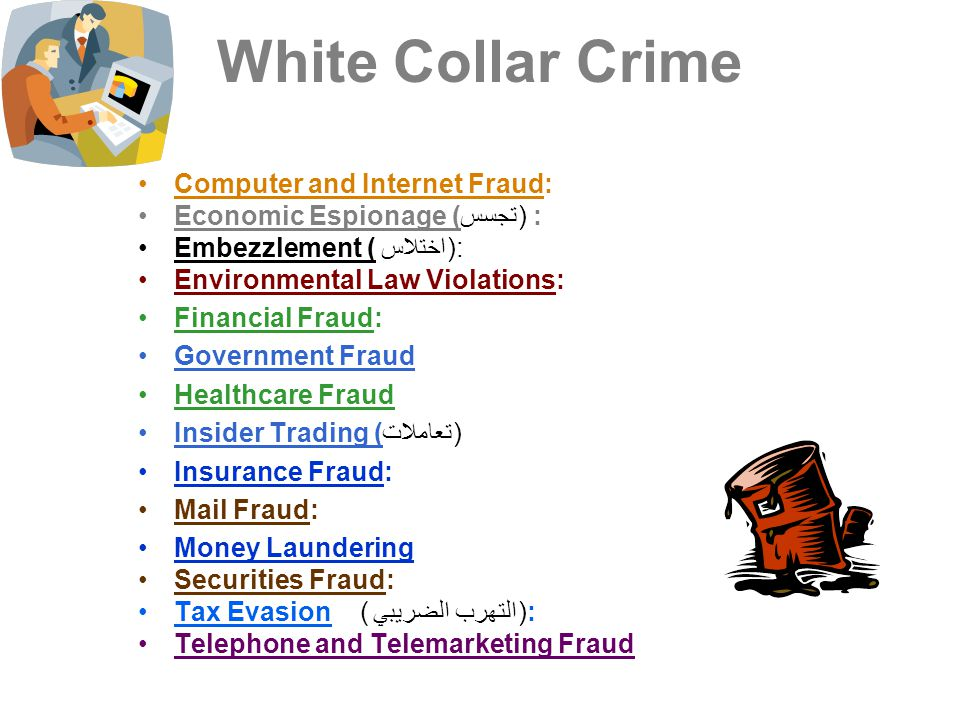 White Collar Crime Computer and Internet Fraud: Economic Espionage (تجسس) : Embezzlement (اختلاس ): Environmental Law Violations: Financial Fraud: Gov