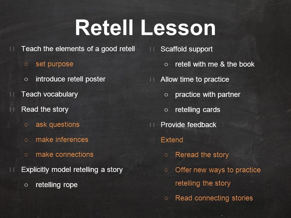 Retell Lesson ★ Teach the elements of a good retell ○set purpose ○introduce retell poster ★ Teach vocabulary ★ Read the story ○ask questions ○make inferences ○make connections ★ Explicitly model retelling a story ○retelling rope ★ Scaffold support ○retell with me & the book ★ Allow time to practice ○practice with partner ○retelling cards ★ Provide feedback ★ Extend ○Reread the story ○Offer new ways to practice retelling the story ○Read connecting stories