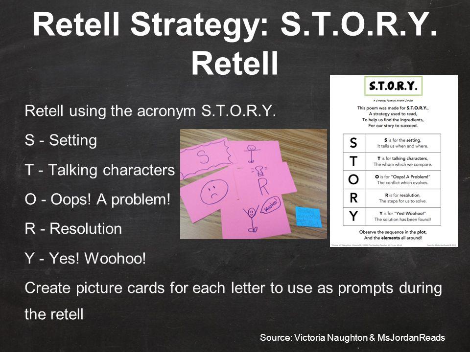 Retell Strategy: S.T.O.R.Y. Retell Retell using the acronym S.T.O.R.Y.