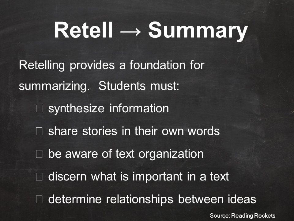 Retell → Summary Retelling provides a foundation for summarizing.