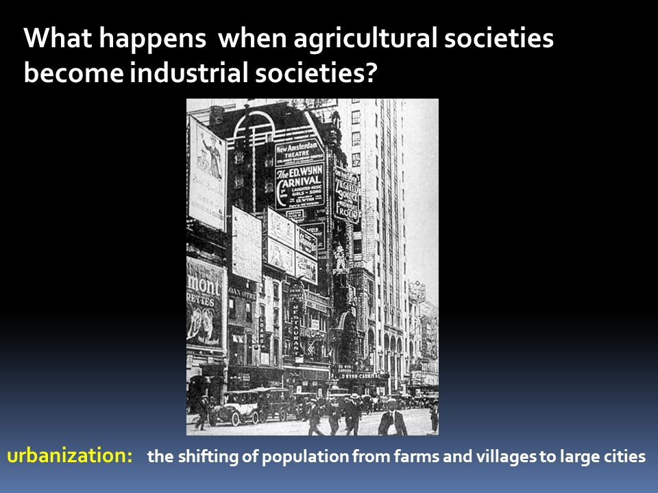 What happens when agricultural societies become industrial societies? urbanization: the shifting of population from farms and villages to large cities