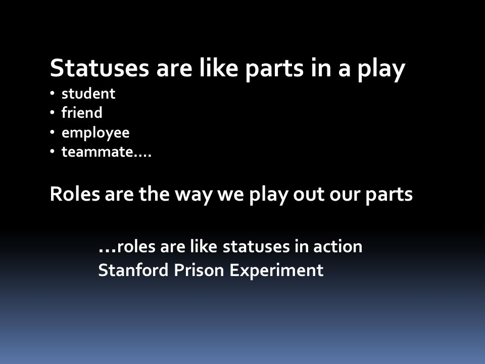 Statuses are like parts in a play student friend employee teammate…. Roles are the way we play out our parts … roles are like statuses in action Stanf