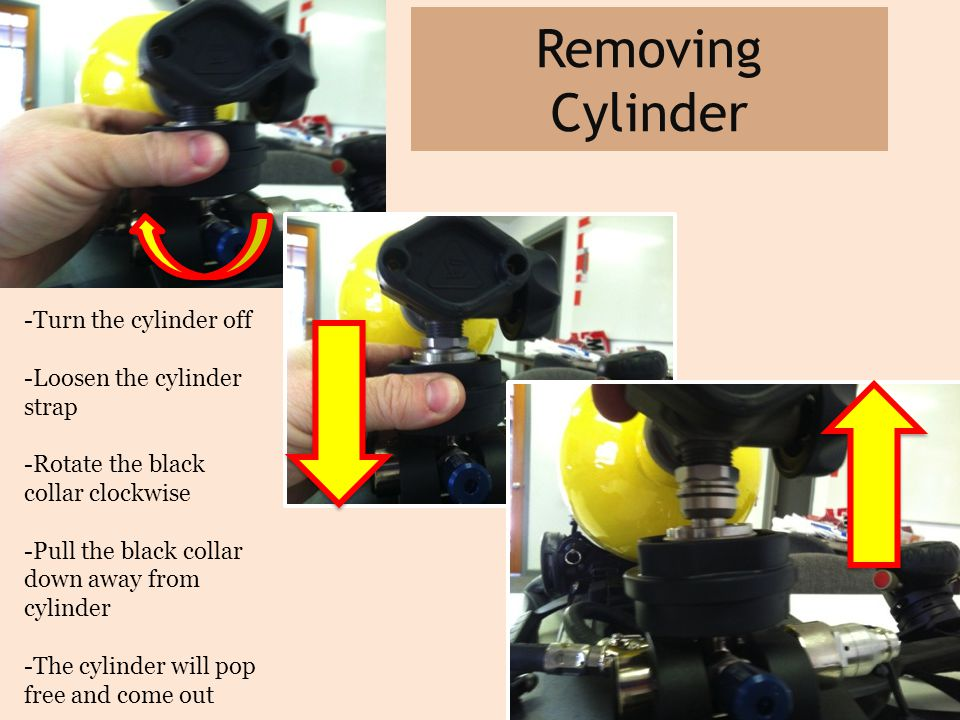 Removing Cylinder -Turn the cylinder off -Loosen the cylinder strap -Rotate the black collar clockwise -Pull the black collar down away from cylinder -The cylinder will pop free and come out