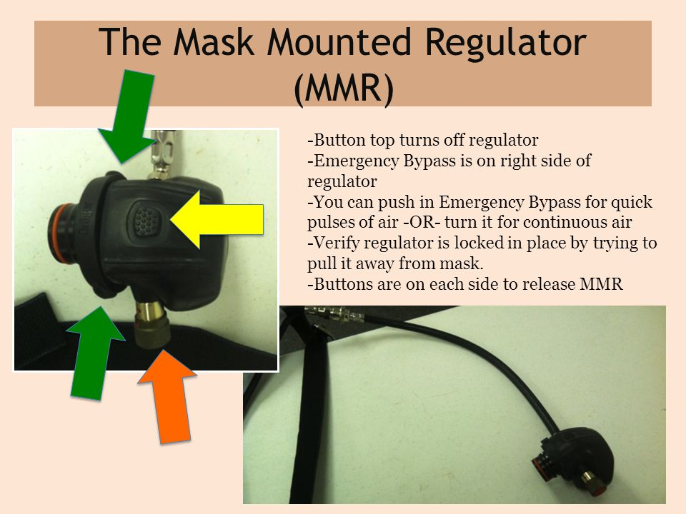 The Mask Mounted Regulator (MMR) -Button top turns off regulator -Emergency Bypass is on right side of regulator -You can push in Emergency Bypass for quick pulses of air -OR- turn it for continuous air -Verify regulator is locked in place by trying to pull it away from mask.