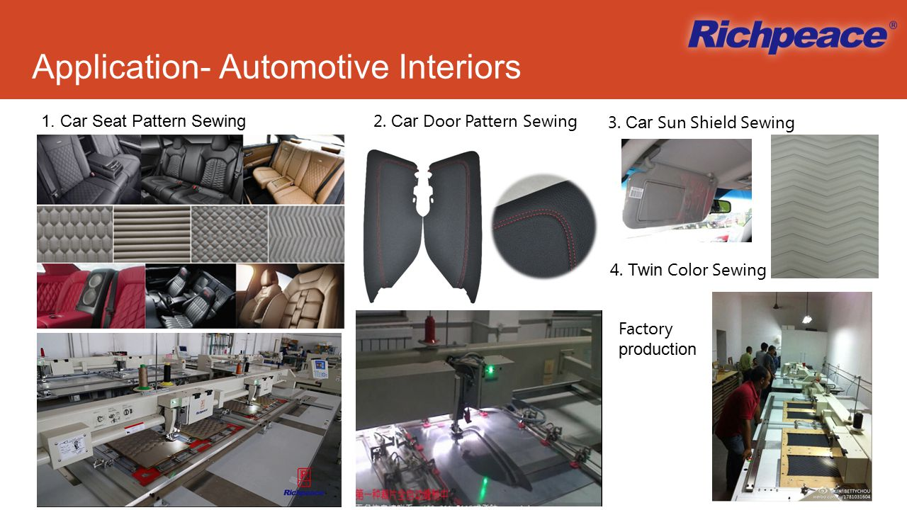 Application- Automotive Interiors 1. Car Seat Pattern Sewing 2.