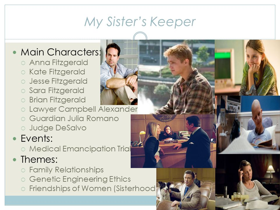 My Sister's Keeper Main Characters:  Anna Fitzgerald  Kate Fitzgerald  Jesse Fitzgerald  Sara Fitzgerald  Brian Fitzgerald  Lawyer Campbell Alexander  Guardian Julia Romano  Judge DeSalvo Events:  Medical Emancipation Trial Themes:  Family Relationships  Genetic Engineering Ethics  Friendships of Women (Sisterhood)