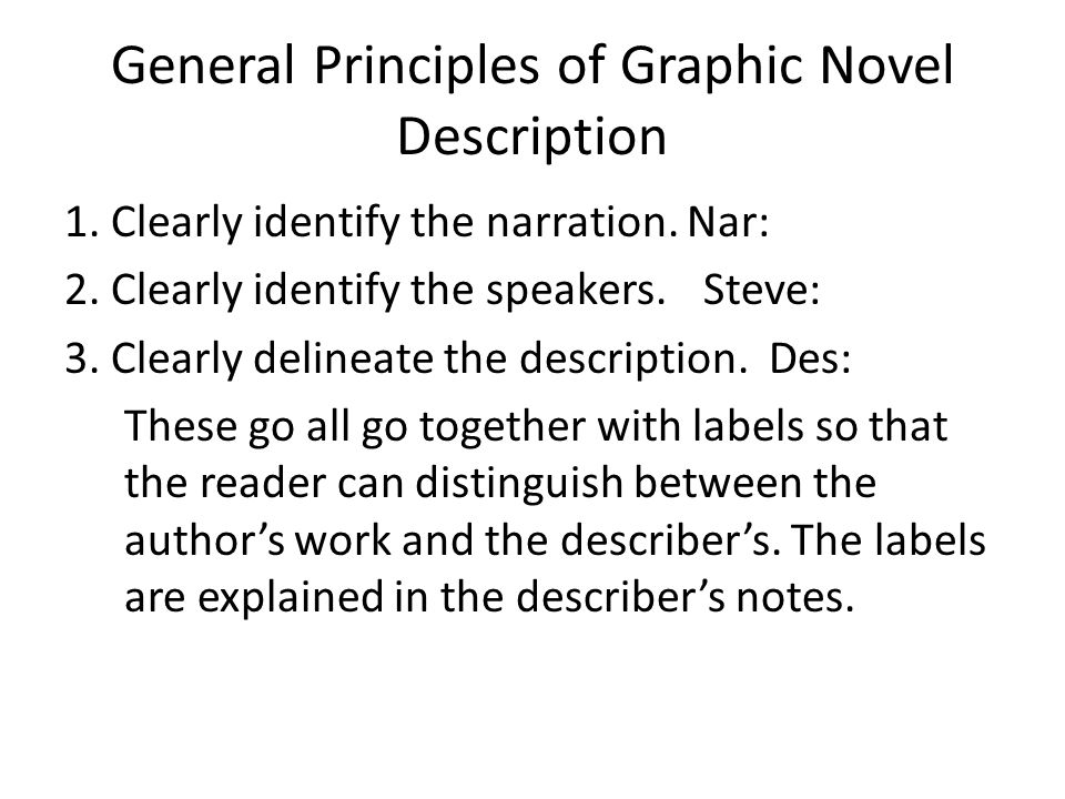 General Principles of Graphic Novel Description 1.