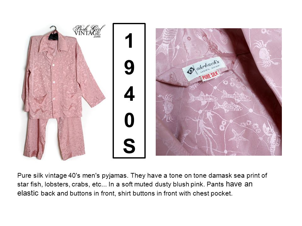 Pure silk vintage 40's men's pyjamas. They have a tone on tone damask sea print of star fish, lobsters, crabs, etc... In a soft muted dusty blush pink