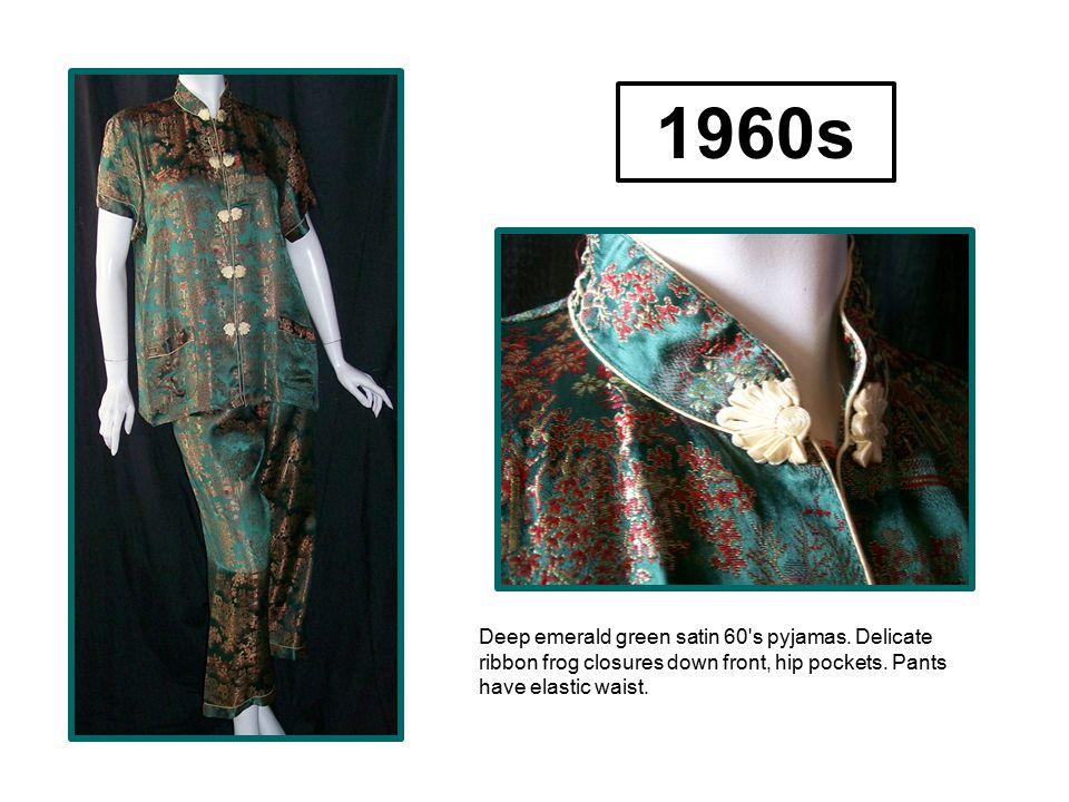Deep emerald green satin 60's pyjamas. Delicate ribbon frog closures down front, hip pockets. Pants have elastic waist. 1960s